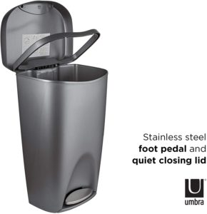 stainless steel foot pedal and quiet closing lid