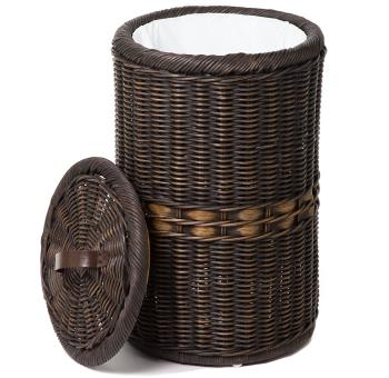 The Basket Lady Tall Wicker Trash Basket with Metal Liner