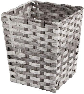 mDesign Small Woven Basket Trash Can Wastebasket - Square Garbage Container Bin